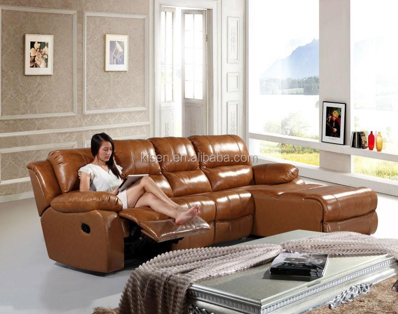 Muebles reclinable l- sofá en forma de ashley sofá de cuero km6005l ...