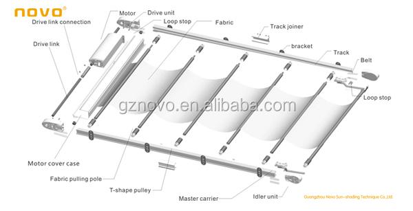 Aluminum sun shade roof awning glass skylight folding for Electric motor for skylight