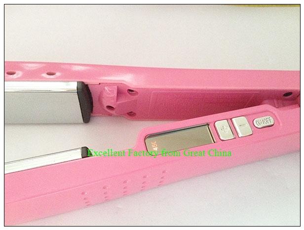 12pcs/lot волос выпрямление розовый плоский железный 1 1/4 титана керамический pro nano в Бразилии drop Доставка