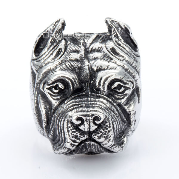 Mens Boys Ring Punk Pitbull Bulldog Animal Silver Tone