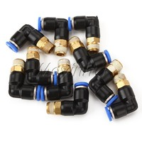 "Арматура для труб 1/8"" 4mm Pneumatic Air Connector Elbow Fitting BSPT Easy Disassembly 10pcs"