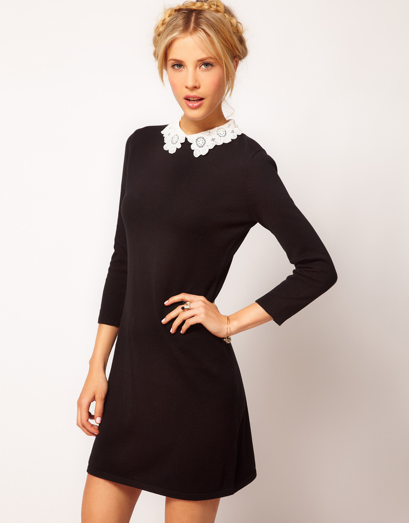 Трикотажное черное платье фото 4