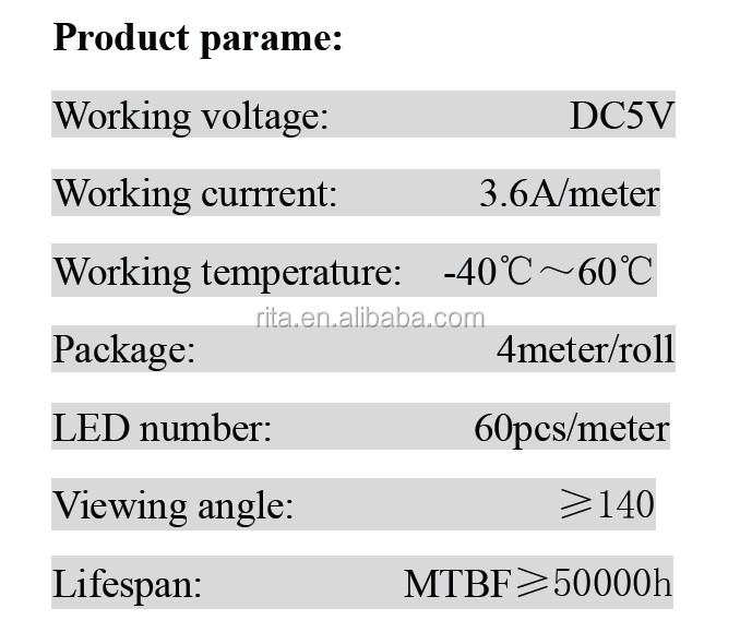 4m DC5V WS2812B led pixel srip,IP68,60pcs WS2812B/M with 60pixels;white PCB, in silicon tube,only 4PIN