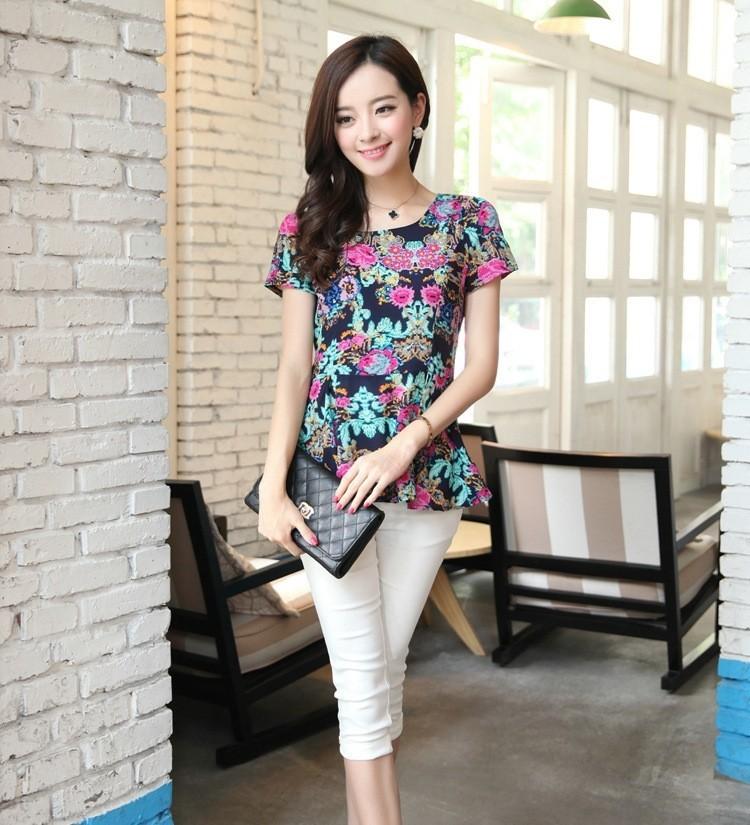 весной новые женщины кофточка дамы летом тонкий короткий рукав плюс размер xxl xxxl рубашки шифон для женщин цветочные печати Топ Блузки