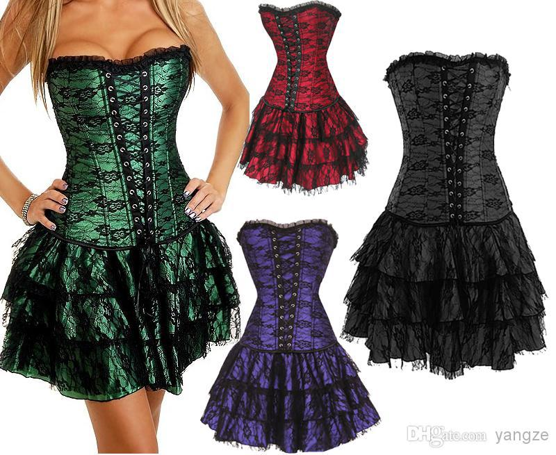 Sexy Girl\`s Women\`s Gothic Corset Top Dress with G-string Boned Lace Up Waist Cincher Bustier girdles Tulle Flower 5 Sizes 630