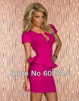 Женское платье Top Quality Plus size M L XL XXL Women Lady Sexy Fashion U-neck OL Peplum Dress Party Bodycon Dresses Black Blue Pink White 8945