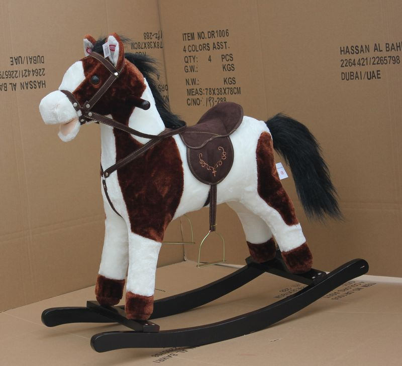 011.jpg ... & Kids Brown Plush Rocking Horse With Moving Mouth And Tail u0026 Music(en ...