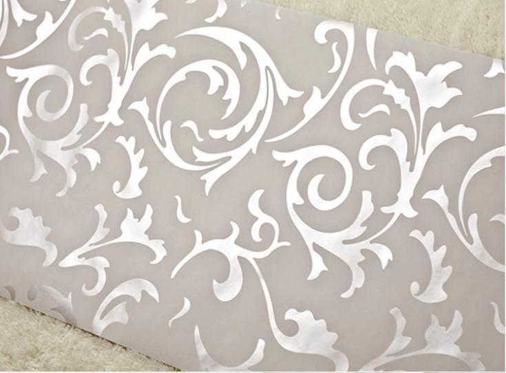 Modern victorian flocking velvet textured damask wallpaper roll silver gold ebay - Cream flock wallpaper ...
