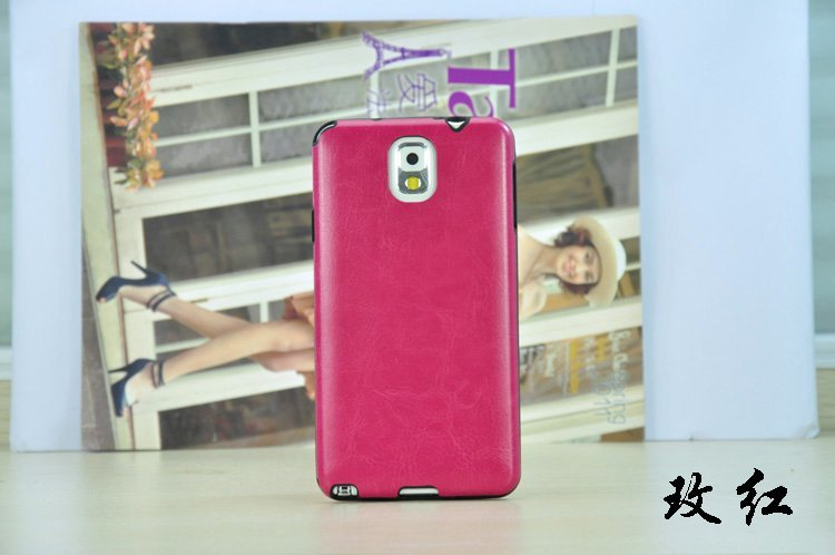 Pure Color Fashion Crazy Horse Line Case Paste Skin IMD PU Leather Case for Samsung Galaxy Note3 Note 3 N9000 Ultra Thin