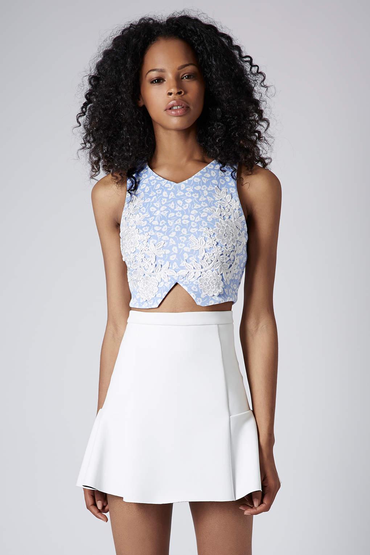 Petite floral applique crop top designer blouse 2014 for Petite designers