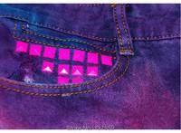 Женские шорты Psychedelic Tie-dye Gradient Rivet Denim Shorts Women Fashion Summer Pants