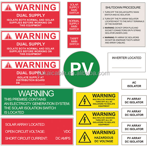 As Nzs 5033 Solar Pv System Safety Labels Ac Dc Danger