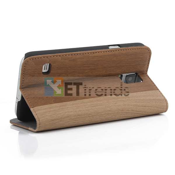 Fashionable wooden leather case for samsung s5 case