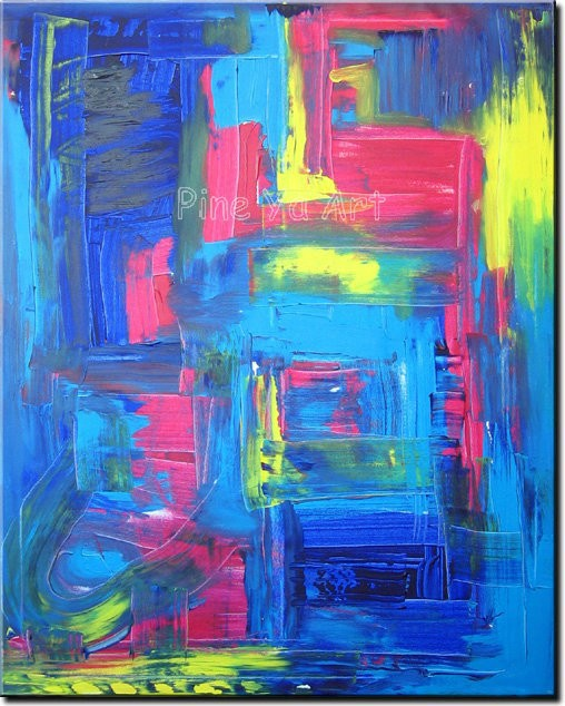 Buy Abstract modern large canvas wall art handpainted decorative blue Knife paint oil painting on canvas for living room decoration cheap