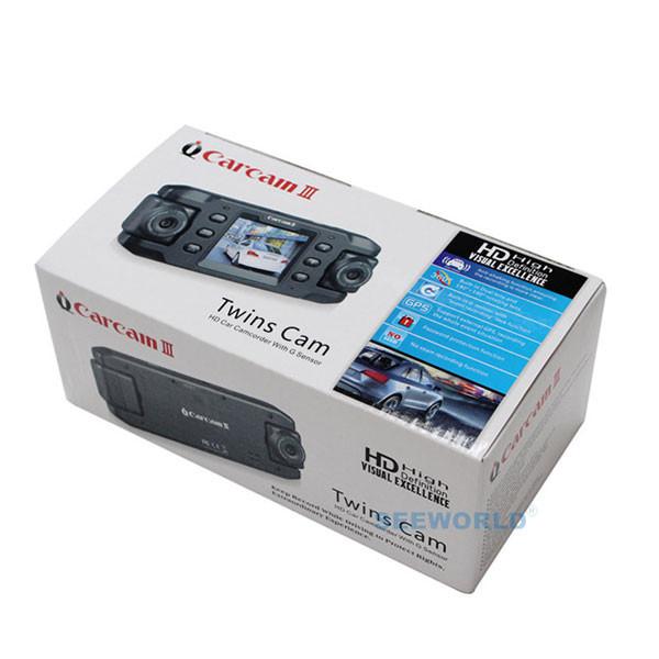 Купить С двумя Объективами Камеры Автомобиля Два Объектива Автомобиля DVR Даш Cam Цикл рекордер GPS Tracker g-сенсор CA365 X8000 Близнецы Cam Черный Ящик