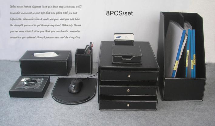 Acheter gros luxe bois fixé accessoires fichier bureau en cuir de