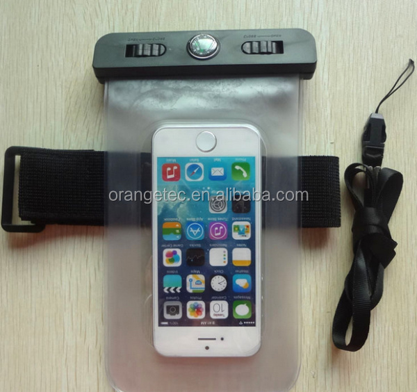 2014 Hot Sale Soft PVC Waterproof Smartphone Bag with Armband Compass for iPhone 4S 5S IPX8 Certified