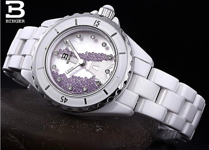 Япония Кварц Бингер Керамика Часы Женщины Элегантный Фиолетовый Шарик Оболочки Фарфора наручные часы Резьба Эйфелева Башня часы с логотипом