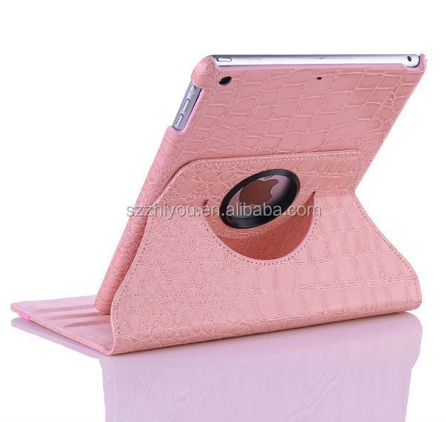 Pink Crocodile Pattern Leather Smart Case Cover for Ipad Air