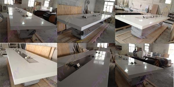 Classy Glossy Acrylic Stone L Shaped Meeting Conference Table View - Stone conference table