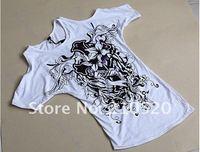"""y92 """"3шт/много женщин сексуальная хлопка случайные от плеча длинные цветы печать футболку мини-платье"""