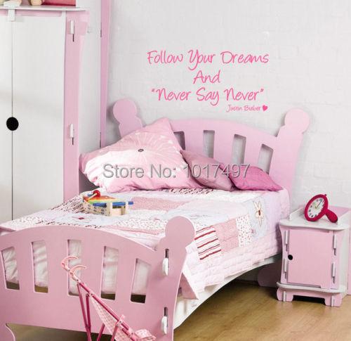 Justin bieber zeg nooit nooit muur citaat art sticker kinderen slaapkamer liefde meisjes - Meisjes slaapkamer stijl ...