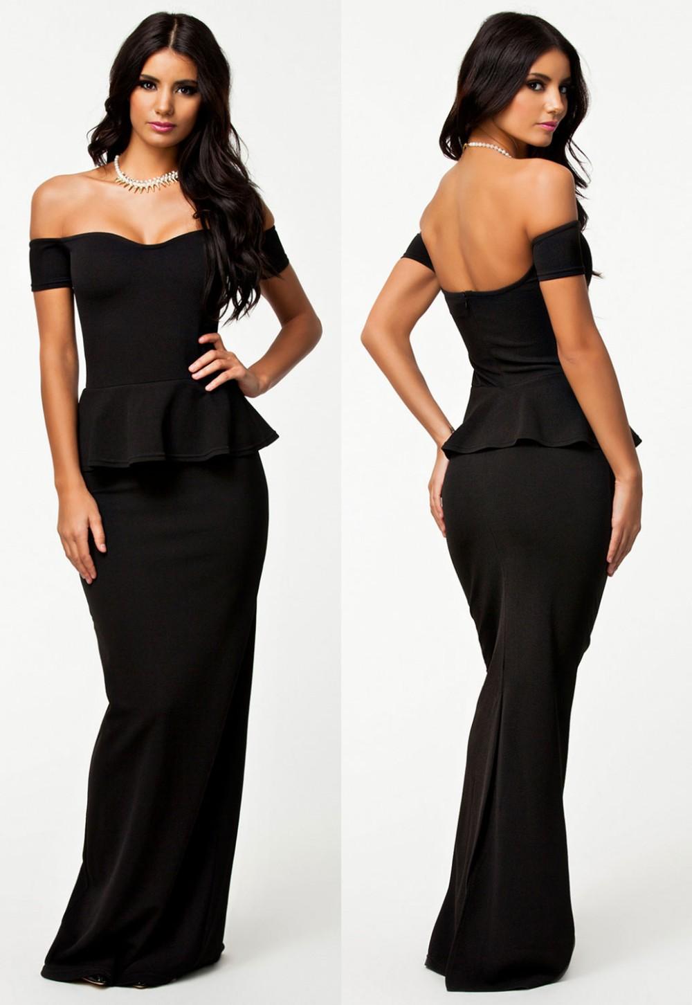 Black-Peplum-Maxi-Dress-With-Drop-shoulder-LC6244