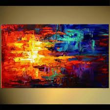Buy Large huge abstract modern canvas wall art huge coloring handmade knife paint oil painting on canvas for living room decoration cheap