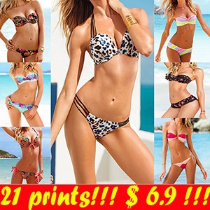Женское бикини 13 Patterns! Victoria Print Bikinis Set VS Brand Swimwear Show Vintage Floral Bikinis Set Bandeau Swimsuit for women