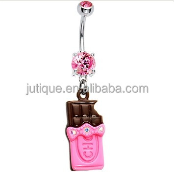 Pink Sweet Chocolate Bar Belly Ring