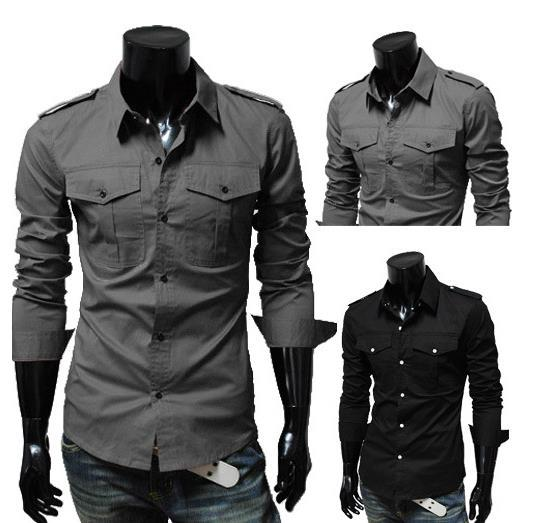 2017 Men'S Slim Luxury Stylish Casual Shirts M L Xl Xxl Grey/Light ...