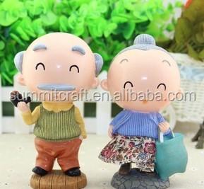 Pura artesanal esculpido polyresin lembranças de casamento velho casal