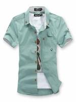 Летом самый продаваемый случайные тонкий случайный рубашки однотонные короткие рукава мужской рубашки синий/зеленый/белый