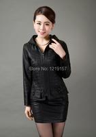 женщин новой весенней моды тонкий женский с капюшоном, кожаная куртка, Черная кожаная куртка, Женская плюс размер одежды