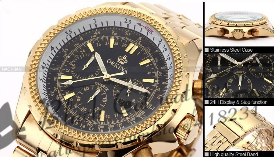 2016 Новый Reloj Часы Hardlex Человек Смотреть Orkina Золотой Водонепроницаемый Моды Ремешок Мужчины Марка Кварцевые 3 Цветов Авто Дата