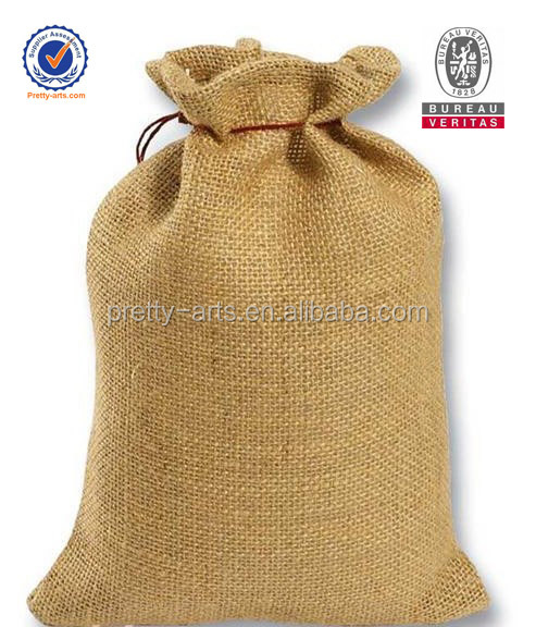 2014 new arrival good quality eco-friendly jute drawstring bag wholesale