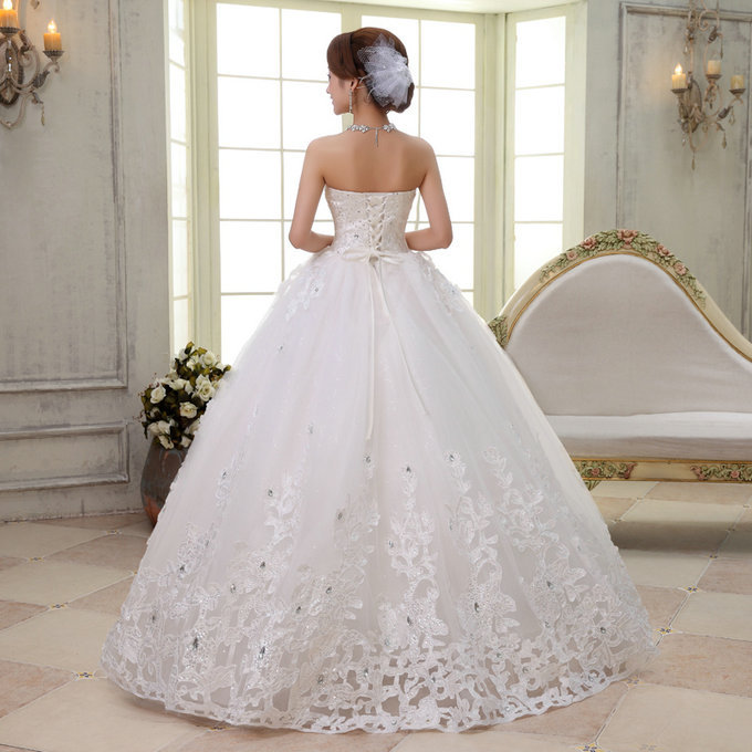 Bride wedding dresses beatiful rhinestone bridal big skirt for Wedding dresses for big chest