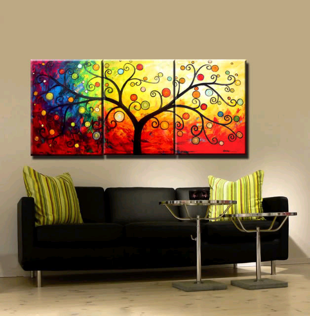 Buy New 3 Piece Canvas Art Hand Painted Canvas Modern Abstract Tree Oil