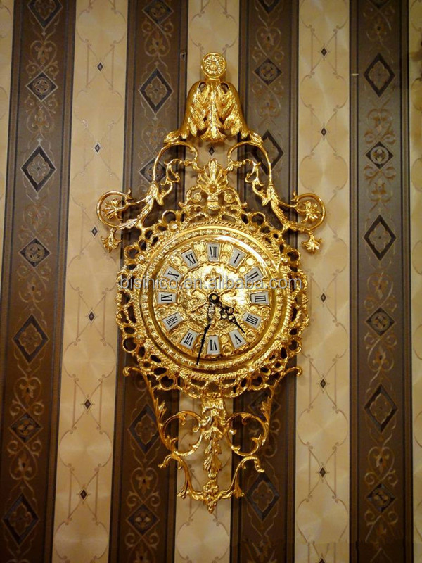 Luxury Wall Decorative Hanging Brass Clock Retro Brass With 24k