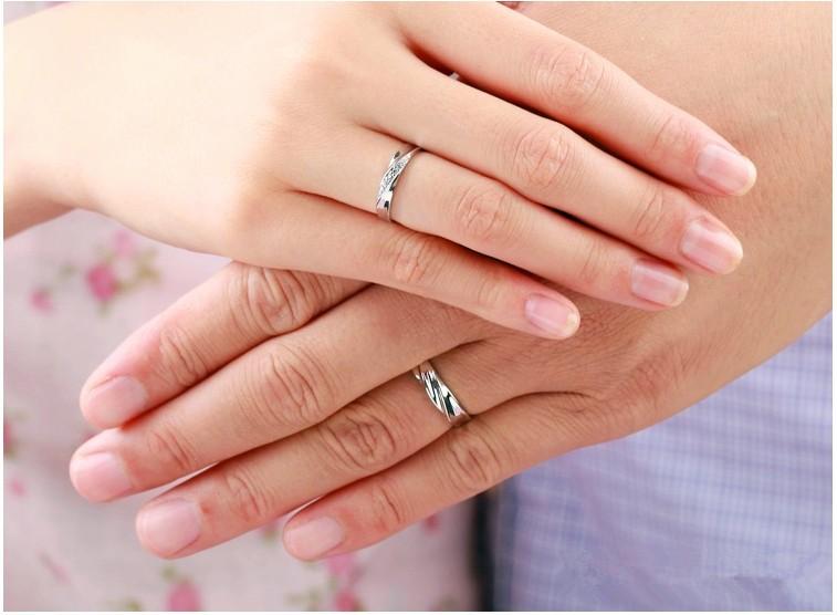 3cf6dac8b9c7 5% de descuento Bodas Anillos de pareja para hombres y mujeres un par Amor  Color de plata Anel Cristal Anillo de compromiso Joyas Uloveido J293
