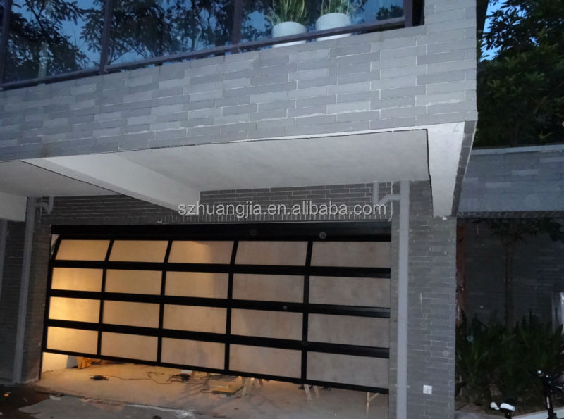 Auto frosted folding glass garage door aluminium profile for Sectional glass garage door