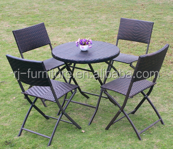 Folding furniture chair round square table pe rattan for Outdoor furniture quotes