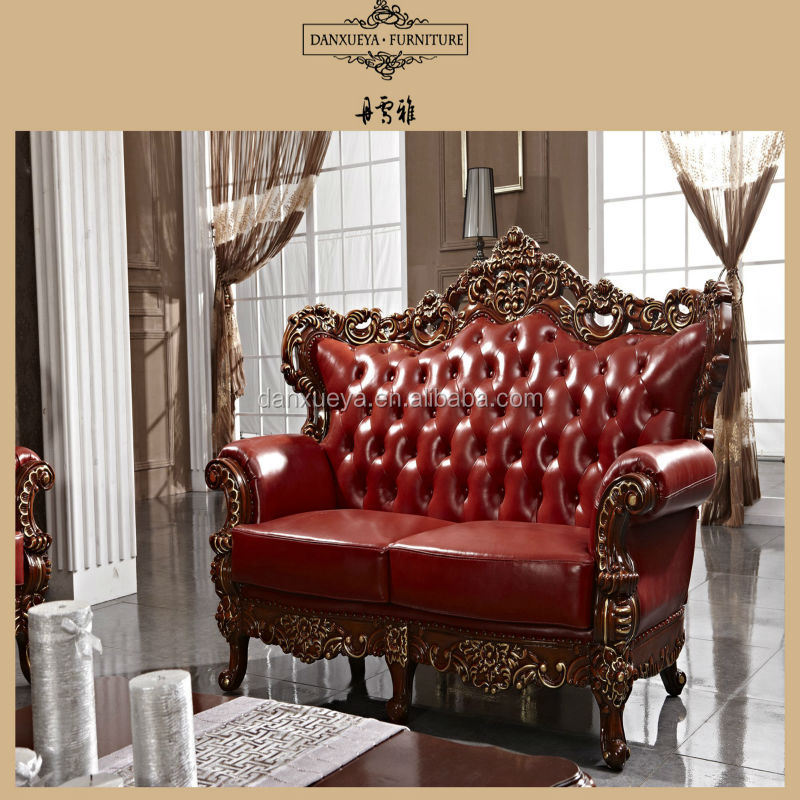 Red Antique Elegant French Style Living Room Luxury Royal Furniture Wood Carv