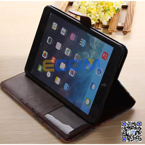 2014 flower pattern case for ipad mini 2,Rotation leather color flower case for ipad