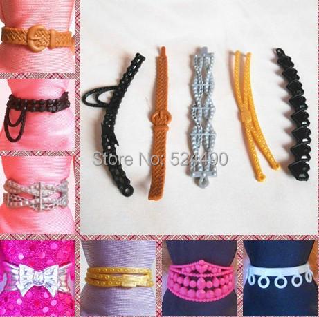 10 Pcs Wholesale Combine Completely different Kinds Vogue Multicolor Doll Belts Jewellery Equipment For Barbie Kurhn Ken Doll Reward New 2014
