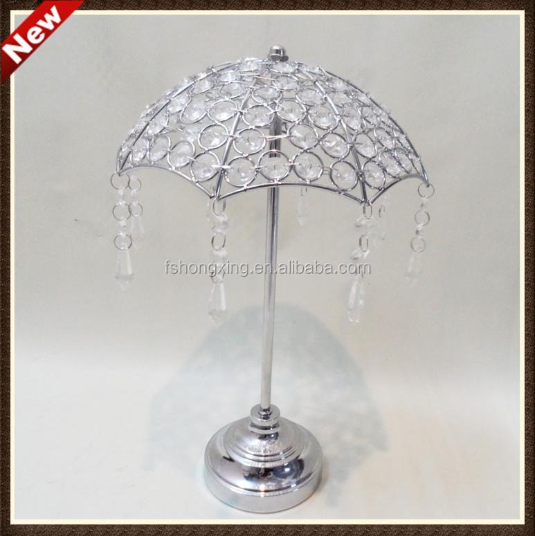 Elegant mini silver crystal umbrella flower stands