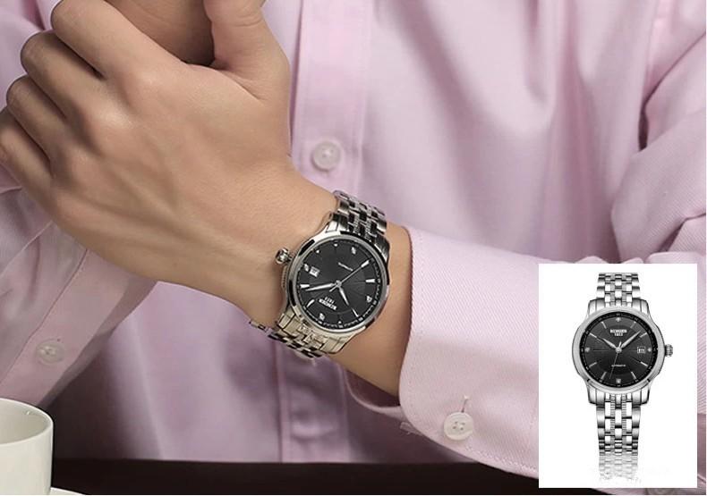 Турбийон Автоматические Механические Часы Авто Дата Корпус Из Нержавеющей Стали Подлинная Коричневый Кожаный Ремешок Мужчины Спорт Binger Наручные Часы