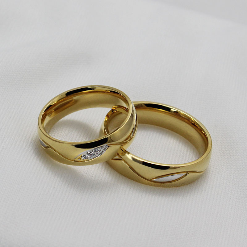 wholesale fashion cz diamond couple rings for men women 18k gold plated stainless steel wedding ring pair fine jewelry anillos - Wedding Rings For Men And Women
