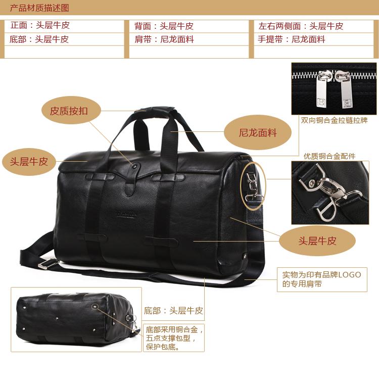 Travel Men's Bags 100%  Genuine Real  Cowhide Leather Shoulder Bag Hug