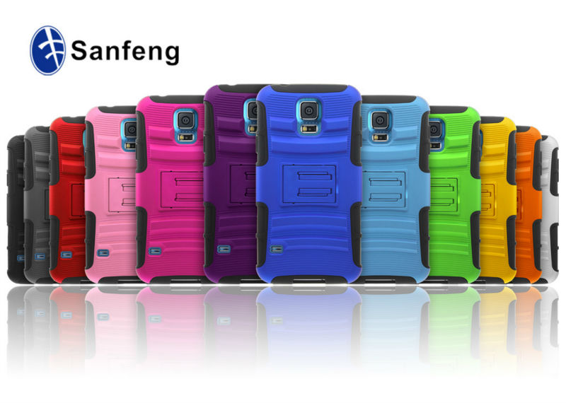 Factory make many color and low MOQ are available Accessories New Arrival mould For Samsung Galaxy s5 Case Belt Clip Stand Case